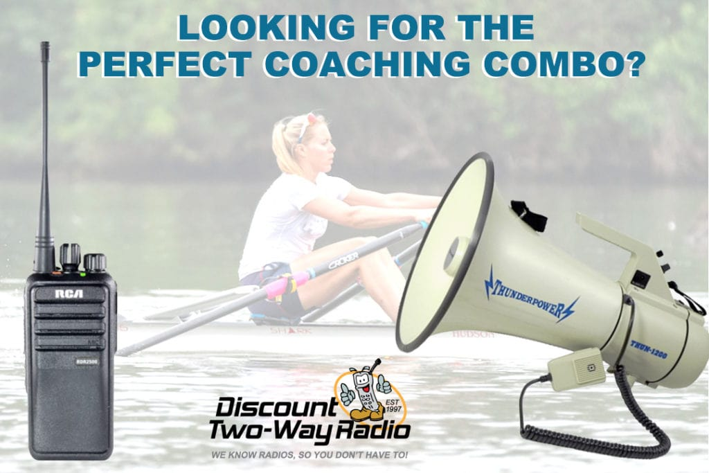 Female rower with ThunderPower megaphone and RCA two-way radio.