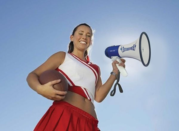Megaphones and cheerleading have gone together for years. Both are used to energize crowds during sporting events.
